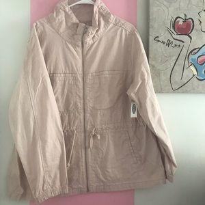 Blush Pink Cotton Canvas Utility Field Jacket